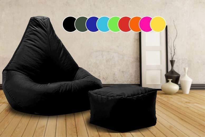 Incredible Highback Beanbag With Matching Footstool 10 Colours Uwap Interior Chair Design Uwaporg