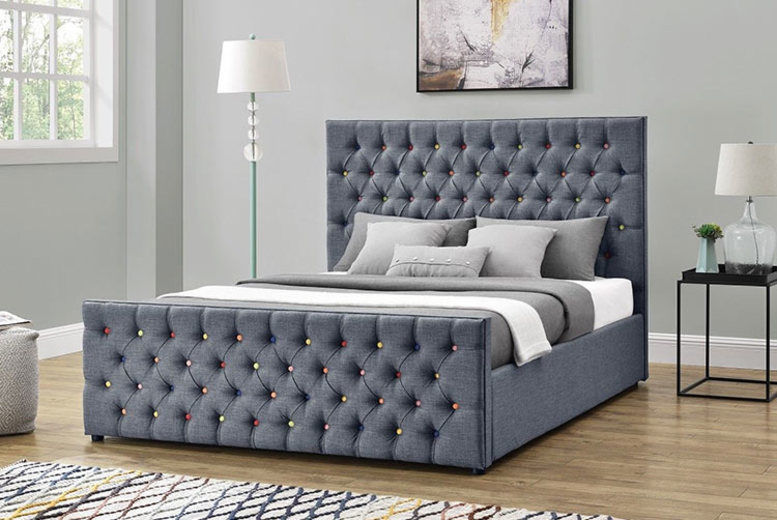 Rainbow Studded Ottoman Bed - 3 Sizes with Mattress Option!