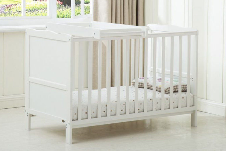 Wooden Cot Bed with Baby Changing Station & Mattress