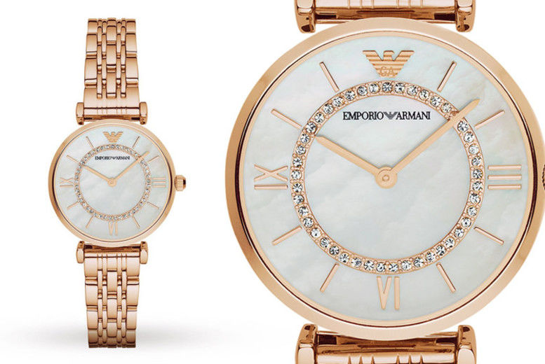 Ladies' Armani AR1909 Gold T-Bar & Mother of Pearl Dial Watch