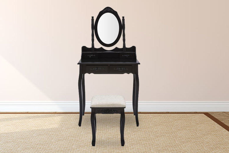 Ornate Dressing Table with Matching Stool & Mirror - 4 Colours!