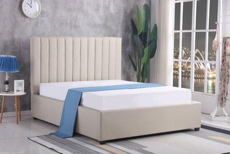 Chenille Ottoman Storage Bed Frame - 2 Sizes!