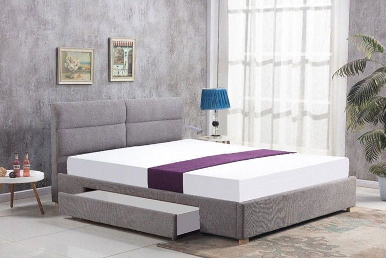 Grey Single Drawer Chenille Bed – 2 Sizes!