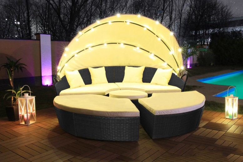 LED Rattan Day Bed w/ Waterproof Cover - 3 Colours & 2 Sizes!