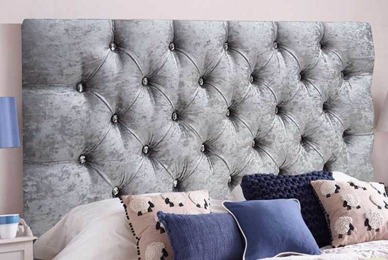 Chesterfield Crushed Velvet Diamante Headboard- 6 Sizes & 5 Colours (from £24)