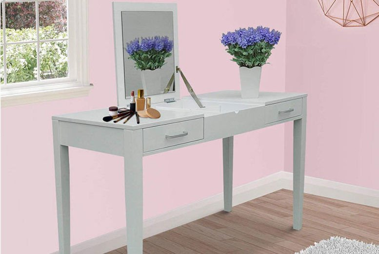 White Dressing Table w/ Folding Vanity Mirror