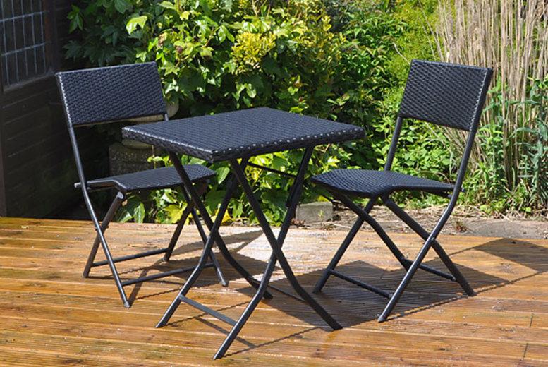 3pc Rattan Table & Chair Bistro Set