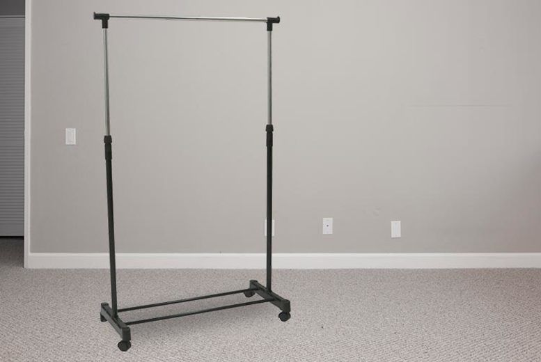 Four-Wheeled Single Clothes Rail