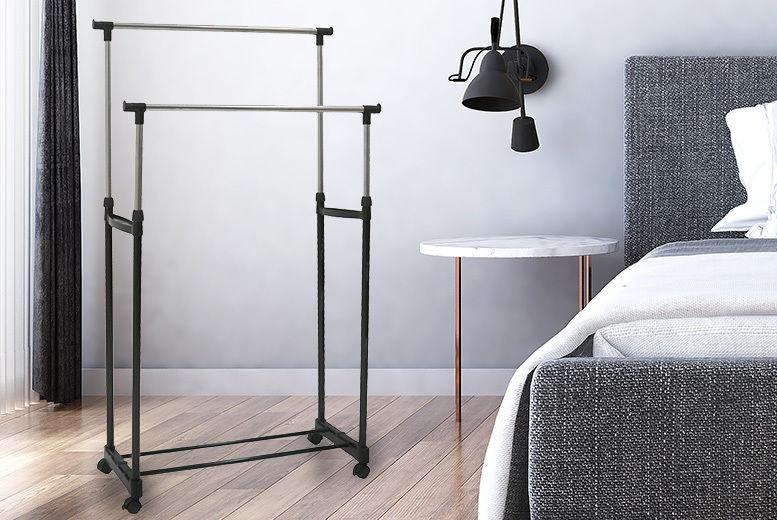 Portable Double Clothes Rail & Shoe Rack