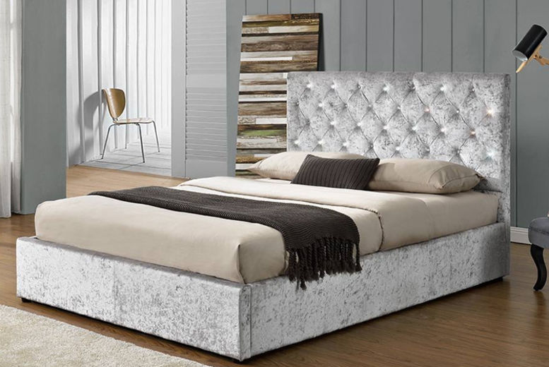 Luxury Silver Crushed Velvet Bed Frame - 4 Sizes!