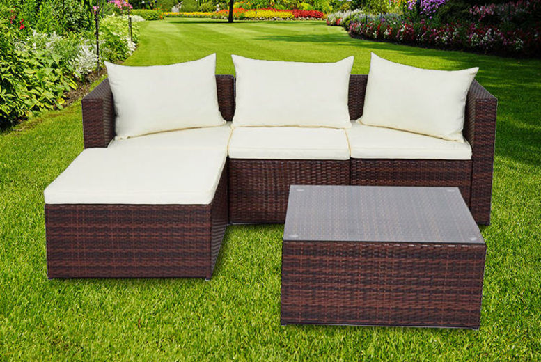 5pc Malaga Rattan Garden Modular Sofa Set – 2 Colours! (£249)