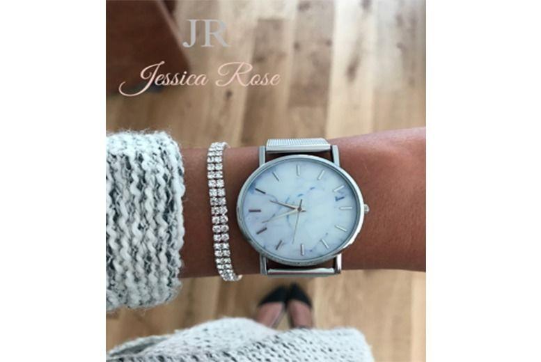 Jessica Rose Marble-Effect Watch & Bracelet Set