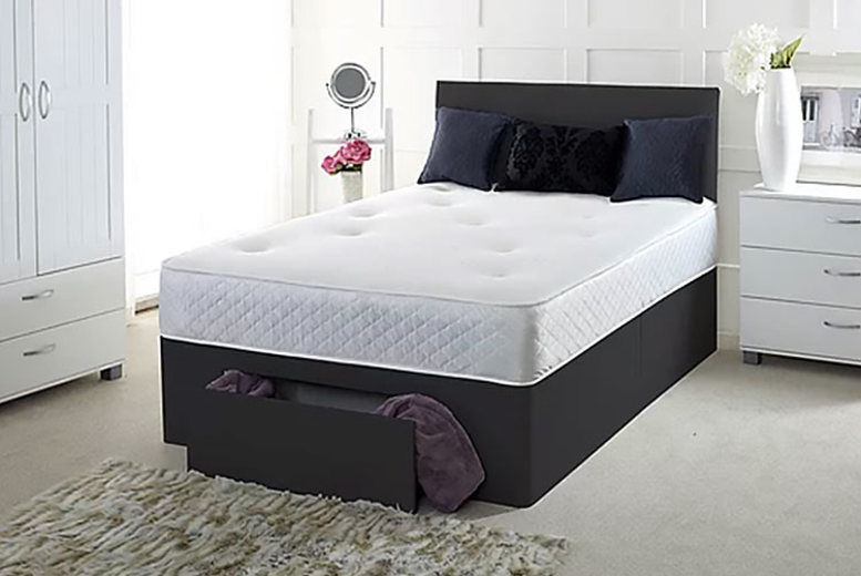 Faux Leather Divan Bed with mattress & optional drawers – 6 Sizes! (from £79)
