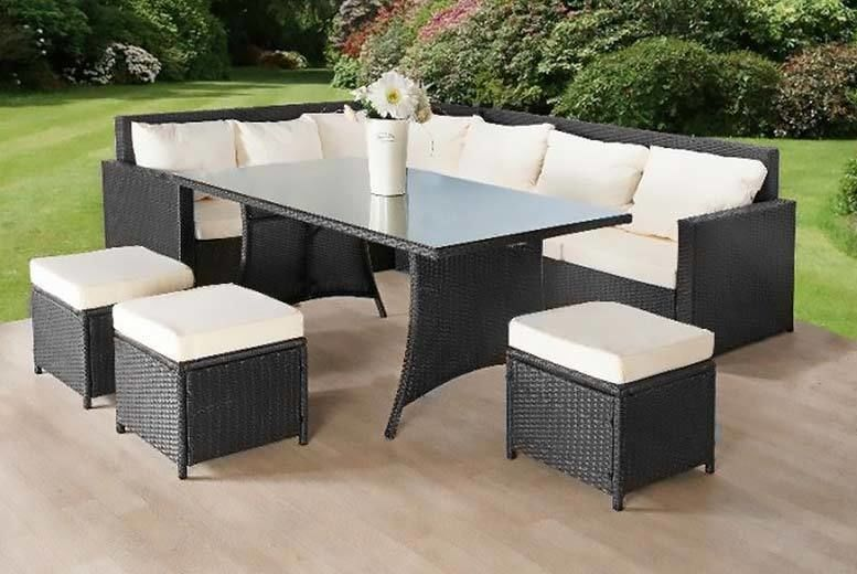 9-Seater Rattan Sofa & Stool Garden Furniture Set - 2 Colours!