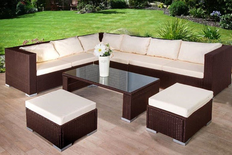 9-Seater Rattan Corner Sofa, Stool & Table Garden Furniture Set