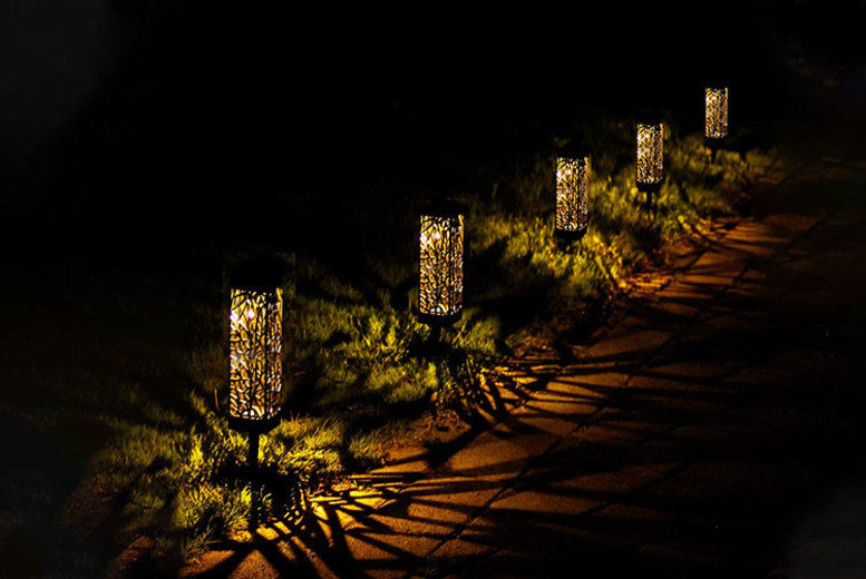 Carved Rattan Effect Solar Powered Garden Lights - 1, 2 or 4