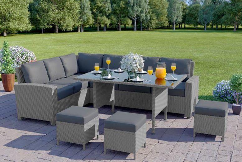 9 Seater Rattan Garden Corner Sofa & Table Set – 5 Options! (from £579)