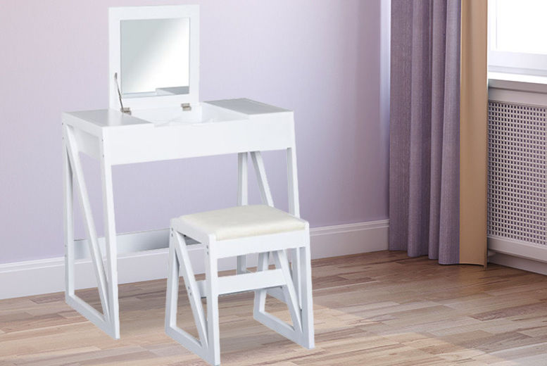 White Mirrored Wooden Dressing Table with Cushioned Stool