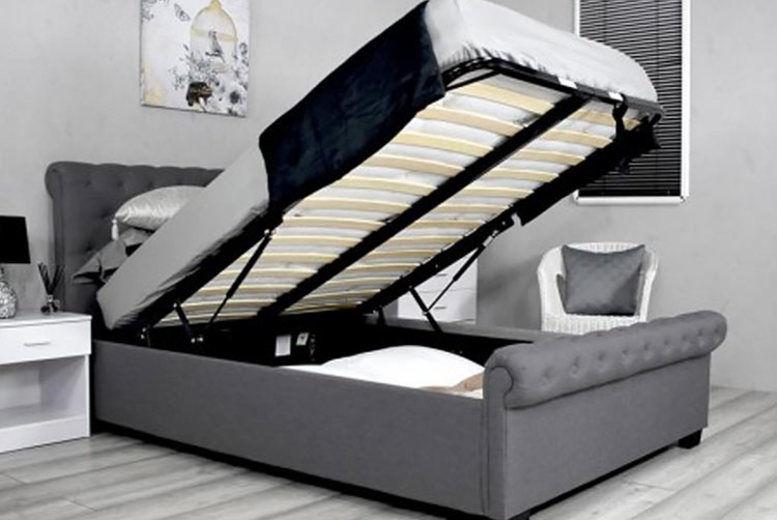 Dark Grey Ottoman Storage Sleigh Bed - 2 Sizes!