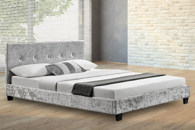Crushed Velvet Fabric Double Bed Frame