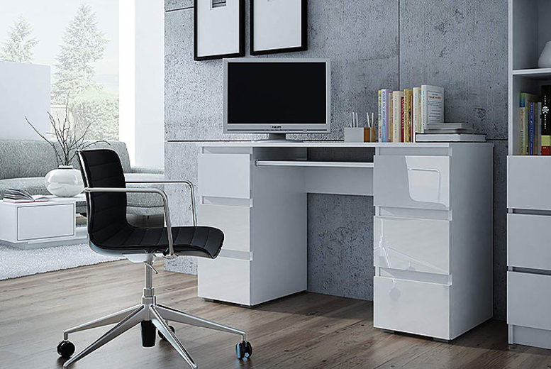 Moderno White Gloss Computer Desk