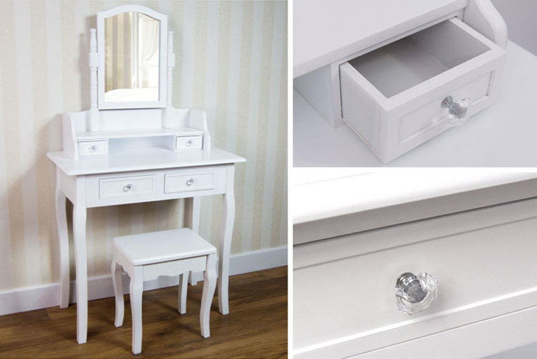 4-Drawer Nishano Dressing Table & Stool - 2 Colours!