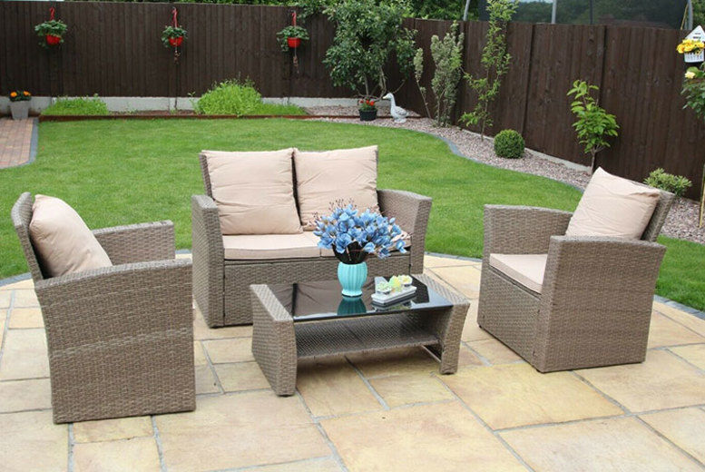 4-Seater Rattan Garden Furniture Set with Optional Cover