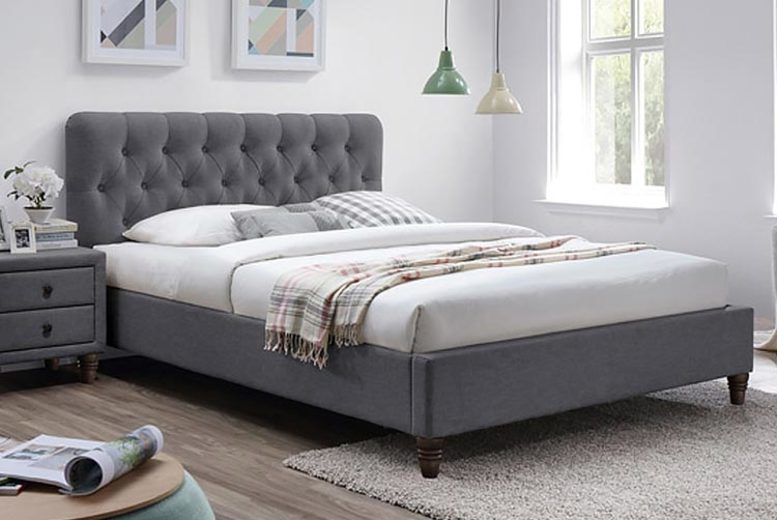 Montpellier Buttoned Fabric Bed w/ Optional Mattress - 2 Sizes!