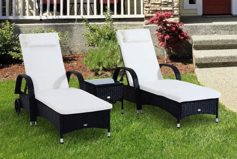 3pc Waterproof Rattan Sun Lounger & Table Set - 3 Colours!