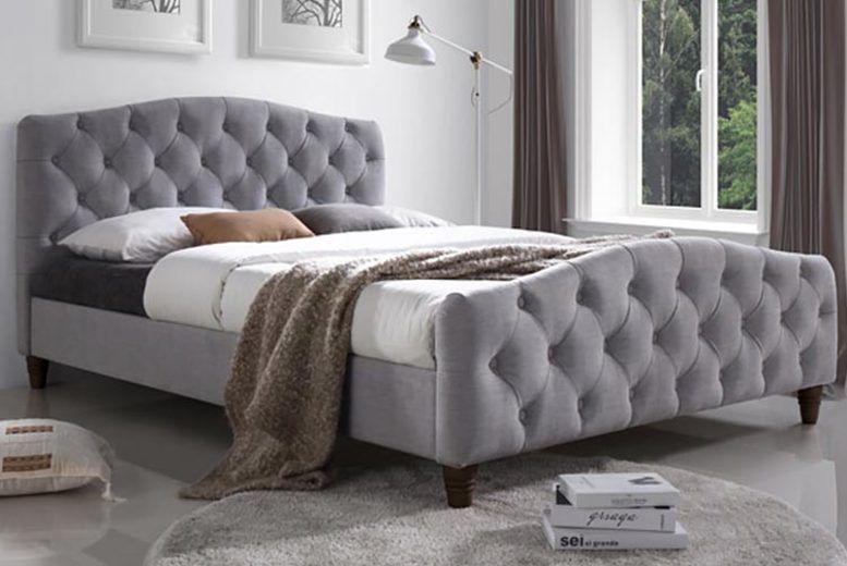Quilted Velvet Fabric Bedframe - 2 Sizes w/ Mattress Option!
