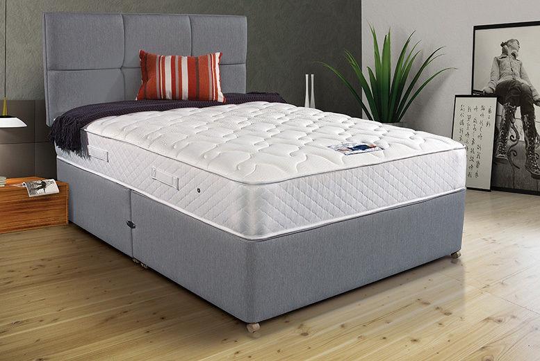 Grey Memory Foam Divan Bed - Headboard, Mattress & Optional Drawers!