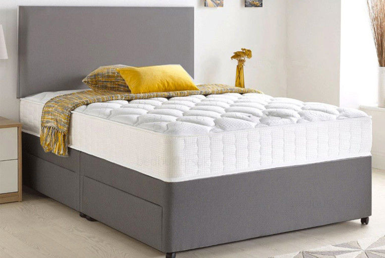 Grey Chenille Divan Bed with Memory Mattress & Optional Storage - 6 Sizes!