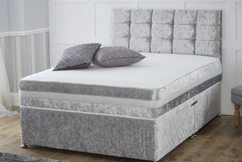 Crushed Velvet Divan Bed With Memory Mattress & Headboard