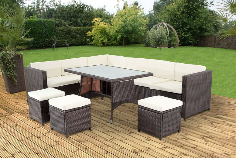 10-Seater Nevada Rattan Garden Furniture Set - 2 Colours!