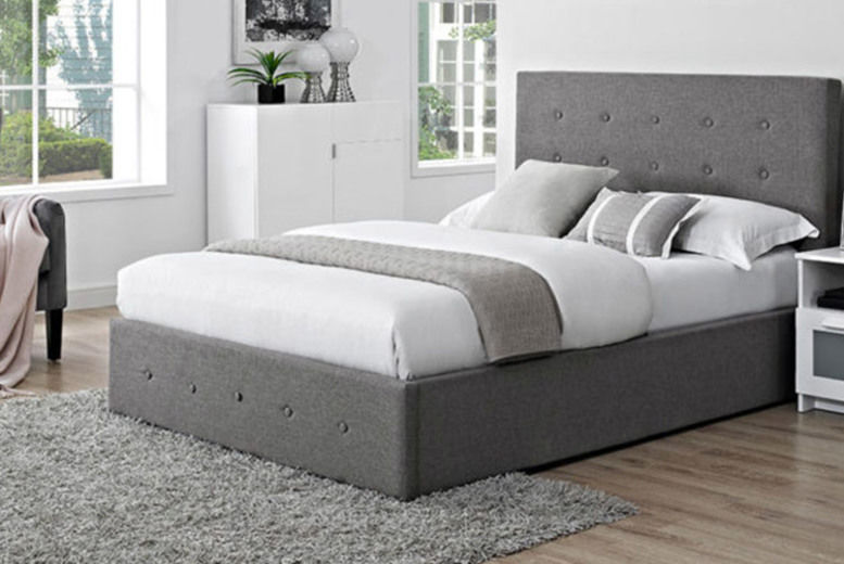 Grey Coco Buttoned Fabric Bed w/ Optional Mattress - 2 Styles!