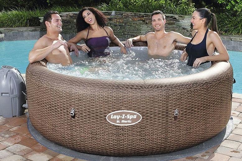 St Moritz Lay-Z Spa Rattan Effect Hot Tub - 5-7 People!