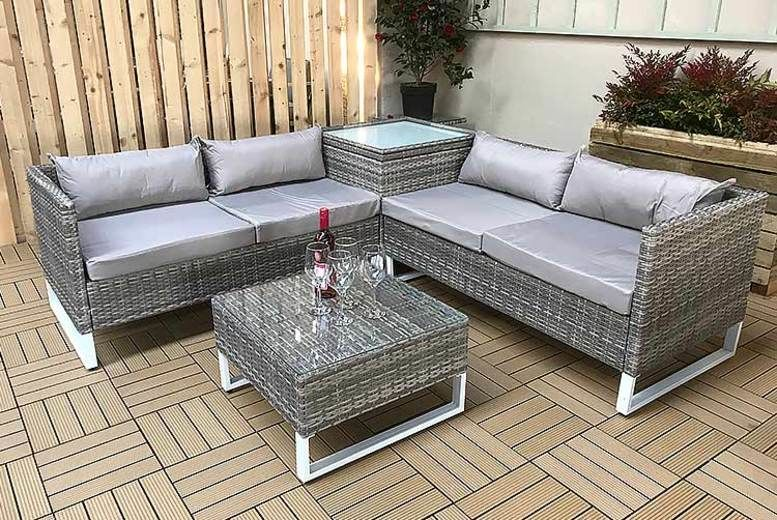 4-Seater Lucy Rattan Sofa Set with Coffee Table & Storage Table