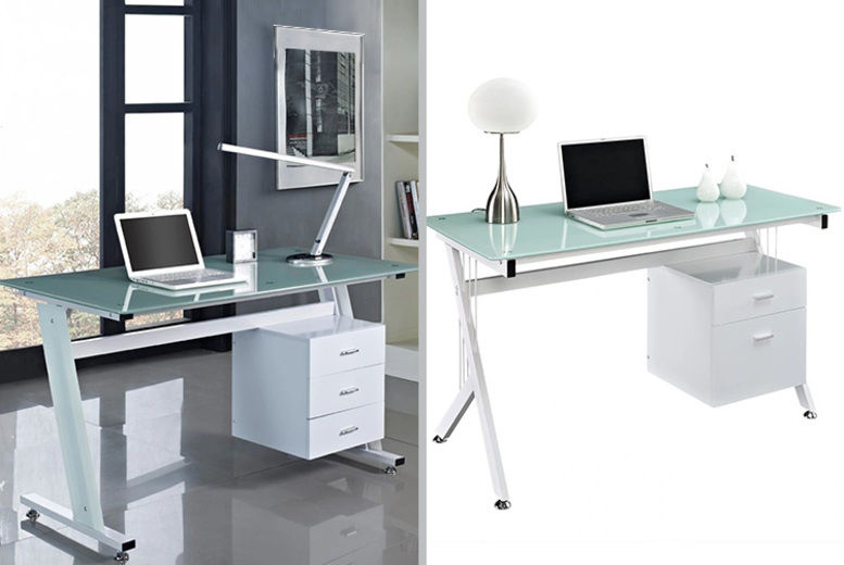 Glass-Topped White Computer Desk w/ Suspended Drawers - 2 Sizes!