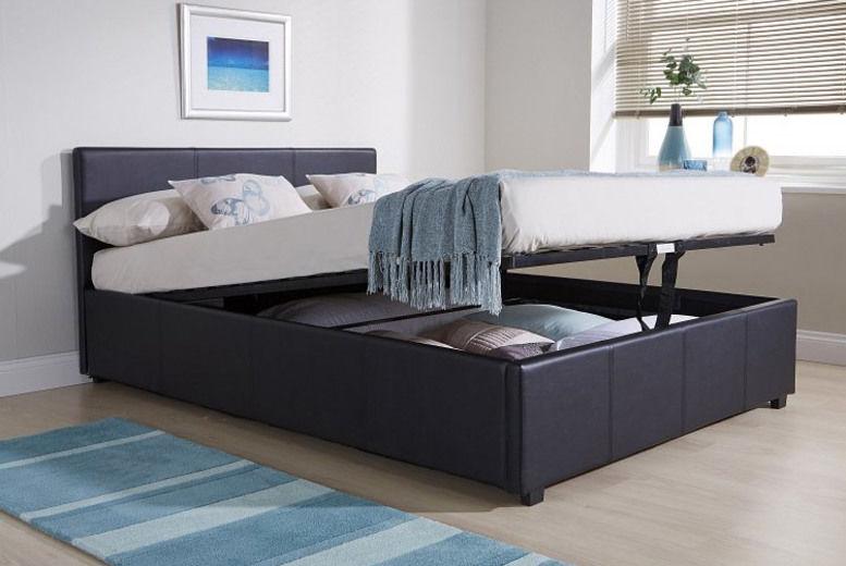 PU Leather Ottoman Bed w/ Foam Mattress, Duvet & Pillows - 4 Sizes!