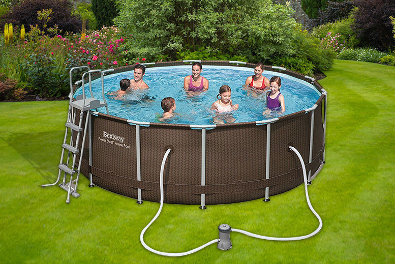 14ft Bestway Rattan Outdoor Swimming Pool w/ Water Filter (£349)