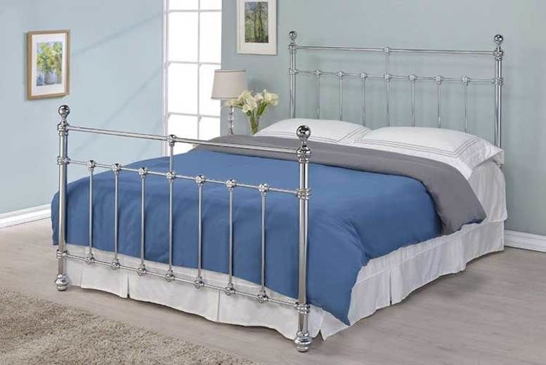 Metal Victorian-Style Bed Frame & Optional Mattress - 2 Sizes!
