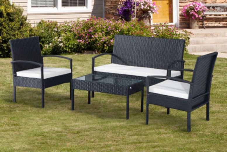 Outsunny Black 4PC Rattan Sofa Set