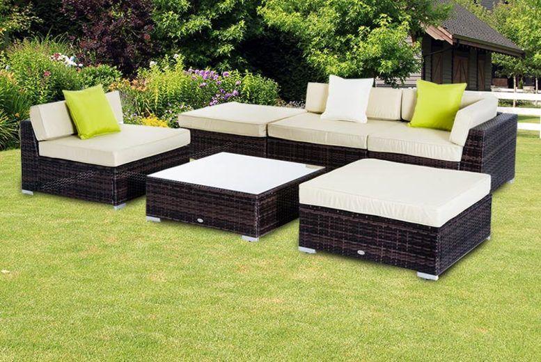6pc Brown Rattan Garden Furniture Set (£429)