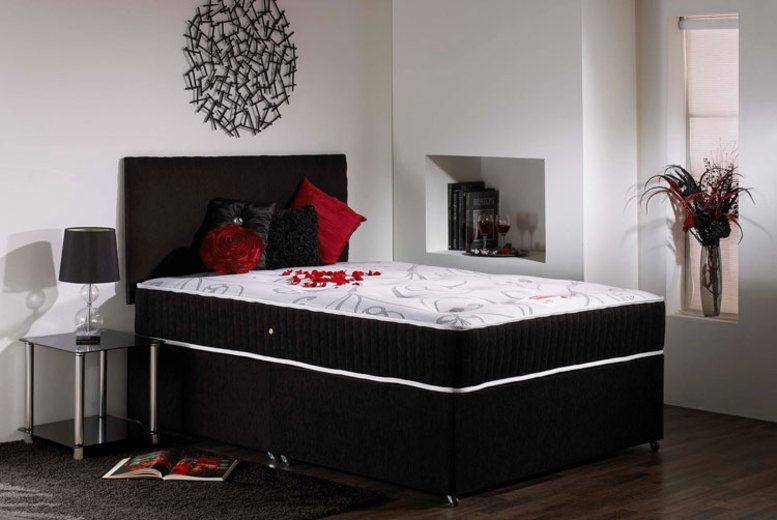 Black Velvet Divan Bed w/ Mattress - 6 Sizes & 3 Options!