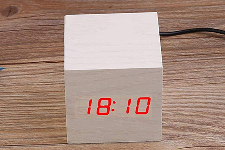 Wood-Effect LED Alarm Clock - 4 Colours!