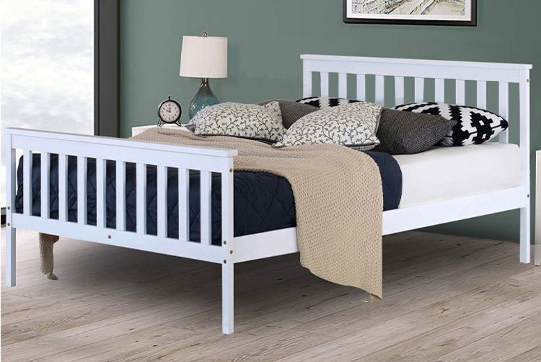 White Pine Double Bed w/ Optional Mattress
