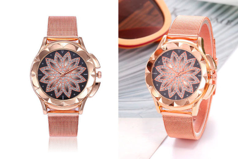 Rose Gold-Toned Floral Dial Watch
