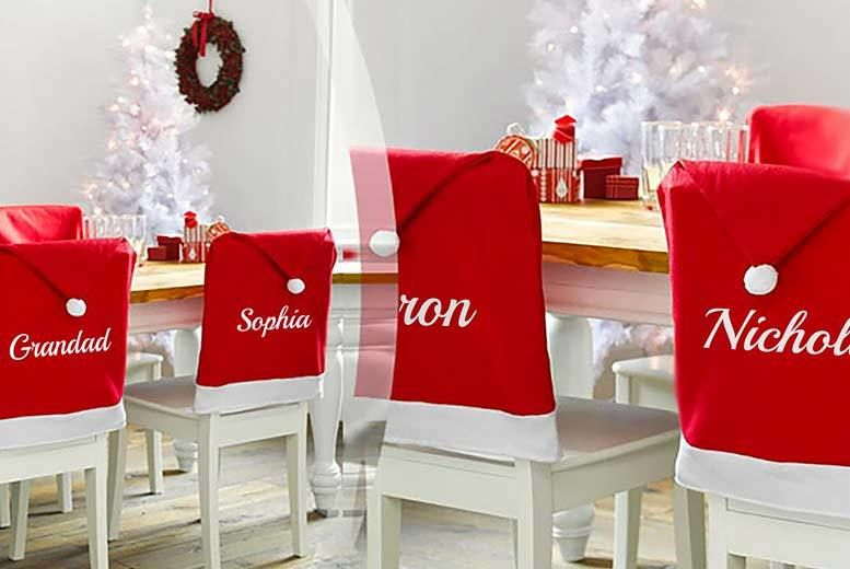 Phenomenal 2 4 Or 6 Personalised Santa Hat Chair Covers Shop Wowcher Squirreltailoven Fun Painted Chair Ideas Images Squirreltailovenorg