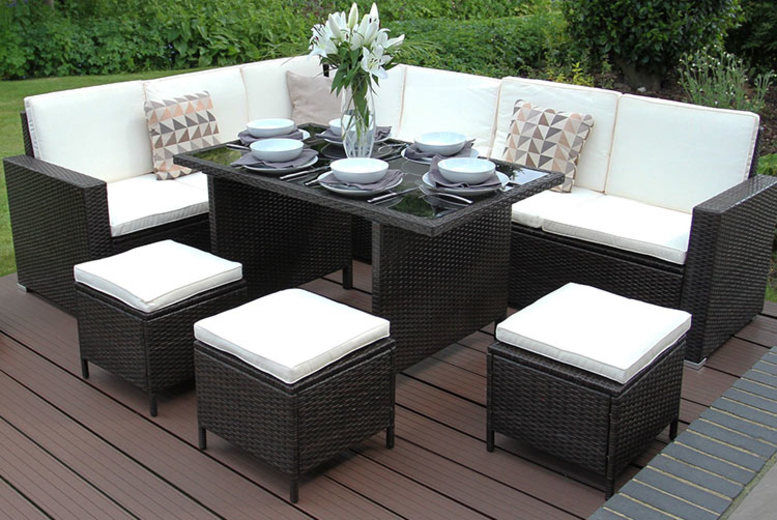 9 Person Jardi Rattan Dining Set