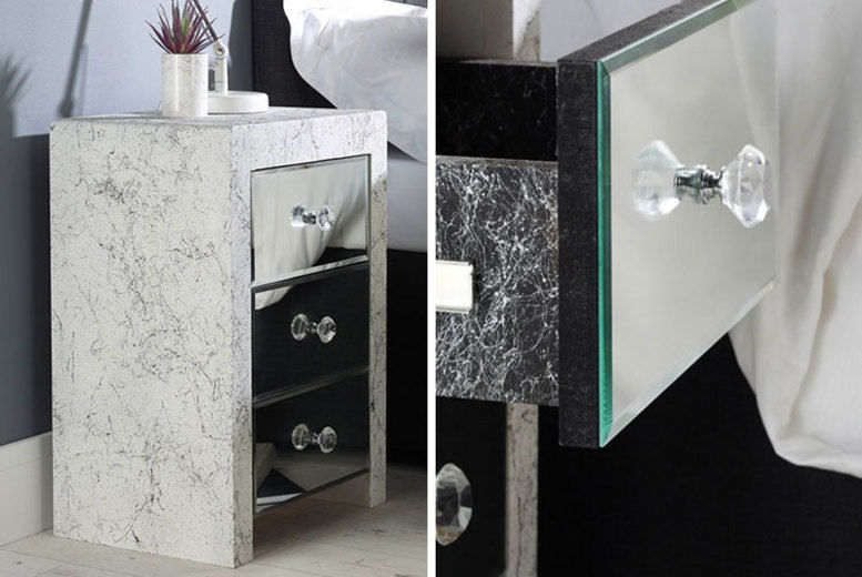 Set of 2 Marble Effect 3-Drawer Mirrored Bedside Tables